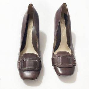 Nine West Leather Buckle Career Heels Size 8